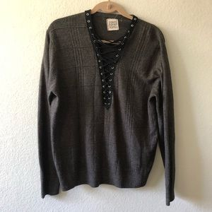 Furst of a kind brown front detail sweater size M